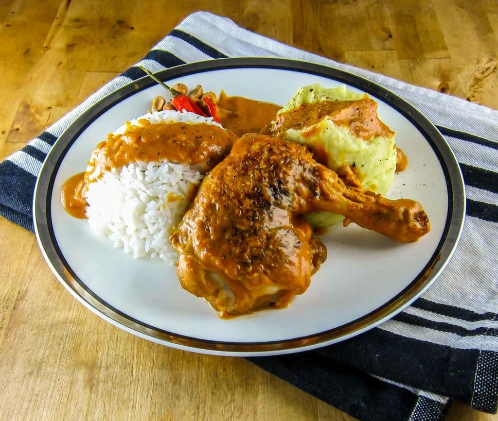 Congo Moambe Chicken with rice and fufu