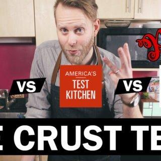 Title photo of Patrick Jaszewski introducing the pie crust comparison. Shows logos of Bon Appetit vs America's Test Kitchen vs Milk Street